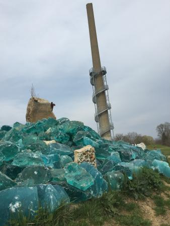 Mount Vernon, OH: Blue-green glass exhibit in front of the smoke-stack tower - you can climb it!