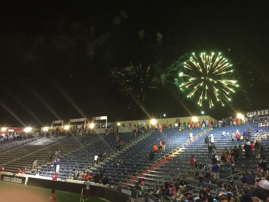 Bridgeview, IL: Fireworks at Night after the game