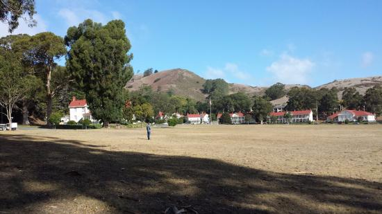Cavallo Point: View of the historic buildings on the hotel grounds