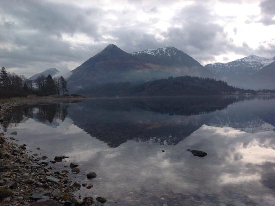 The Glencoe Inn: View from opposite side of Loch Leven