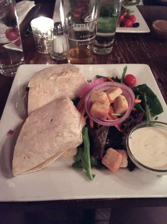 Wilton, CT: Cabo Chicken Wrap, with side salad and ranch dressing