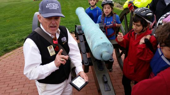 Sharpsburg, MD: Gary showing the civil war rifle rounds.