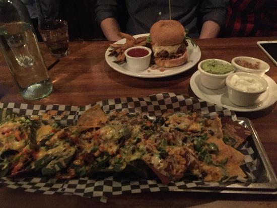 the Sovereign Room: Nachos and Burger
