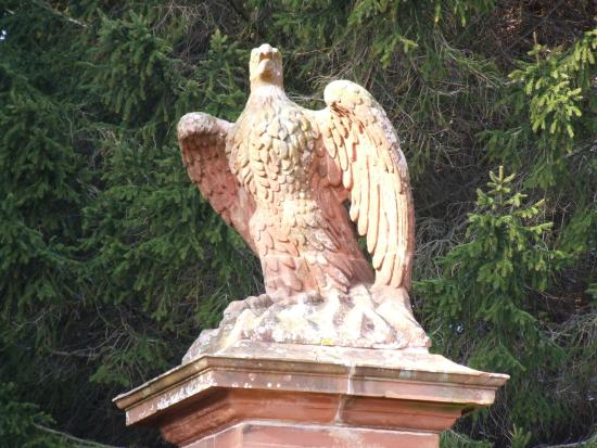 Lauder, UK: Detail of eagle gates