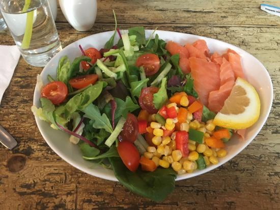 Oliver's Coffee House: Lovely Salmon salad and Gluten free cheese scone & salad!