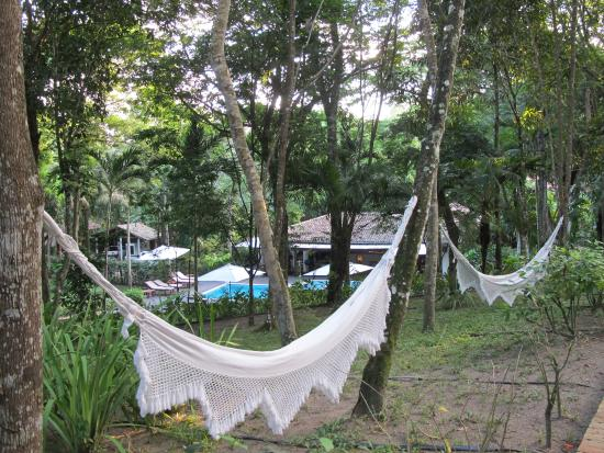 Etnia Pousada & Boutique: Área interna da pousada toda arborizada e com redes para descanso.