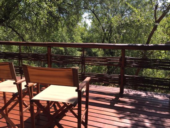 Thakadu River Camp: Our Luxury Tented Suite with the view from the deck