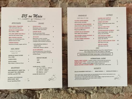 215 On Main's Menu