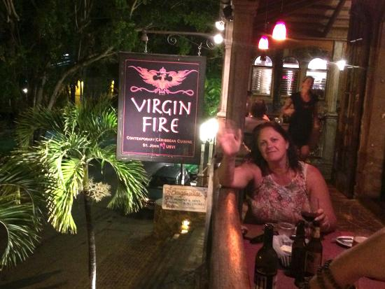 Virgin Fire Bar & Grill: Another view from balcony during evening