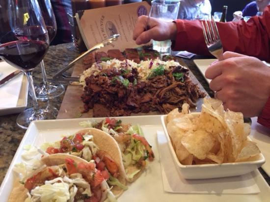 Bounty Hunter Wine Bar & Smokin' BBQ : Whoa. Shrimp tacos, brisket, ribs, and pulled pork. Whoa.