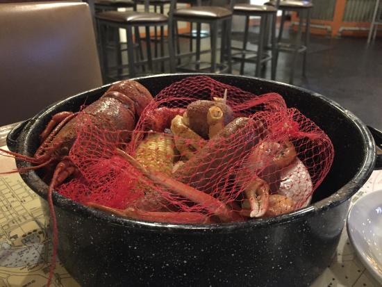 Lobsters and crabs in a pot