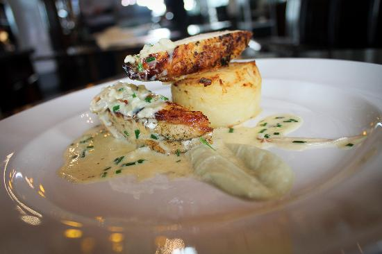 Cafe TwoCann: Thyme & Garlic scented Corn fed Chicken Artichoke puree, fondant potato, enoki mushroom sauce
