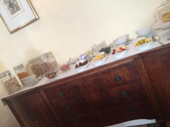 Willance House Guest House: Cold breakfast choices - fresh fruit and nuts, cereal, ice cold fruit juice, fresh scones.