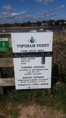 Exminster, UK: Topsham Ferry times