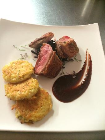 Sheehan's: Roast Duck Breast with sweet & sour red cabbage served with Potato & herb cakes & prune purée