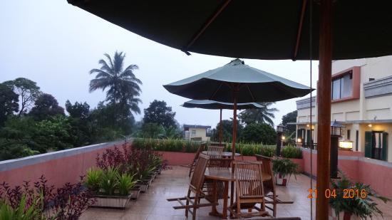 Terrace at the Green Garden Restaurant .