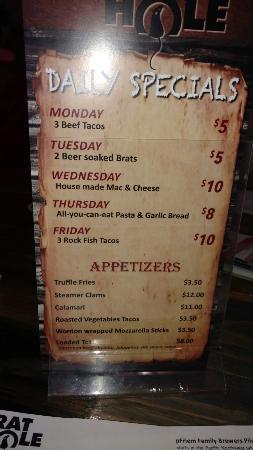 Sunriver, OR : The menu
