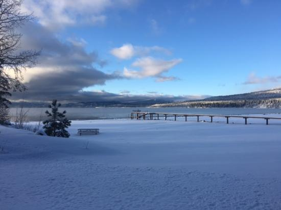 Tahoe Vista, CA: The private beach and pier in the snow