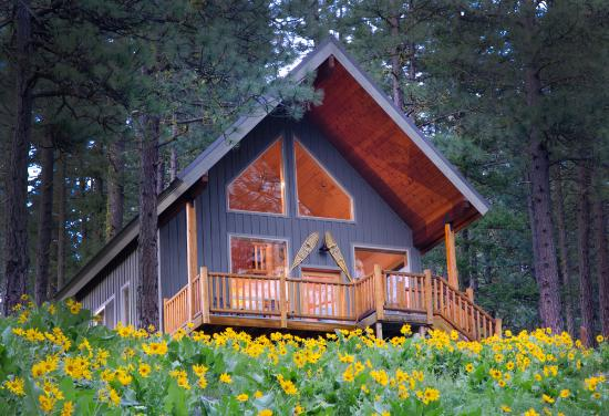 Mountain Home Lodge: Cabin Ponder Rock early spring
