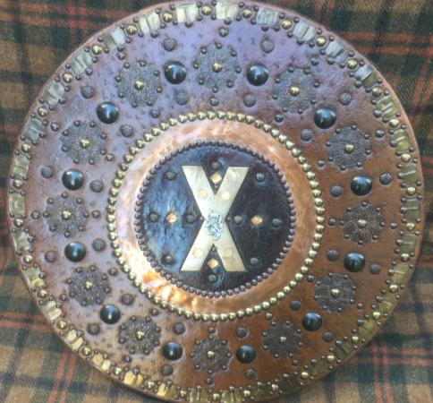 Prestonpans, UK: Some examples of the Highland fighting shield or Targe all made by Stephen Hay.