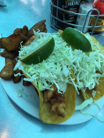 Fisherman's Market & Grill: Famous Baja fish tacos & chips $7.99 lunch specials