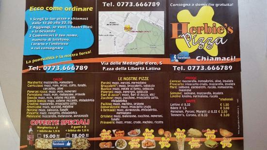Fiori 04100.Il Nostro Menu Picture Of Herbie S Pizza Latina Tripadvisor