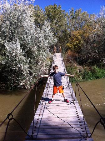 Delta, CO: The swinging bridge over the Uncompahgre River at Confluence Park