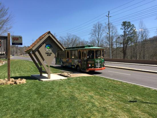 Camp LeConte Luxury Outdoor Resort : Trolley shelter in front of the campground.