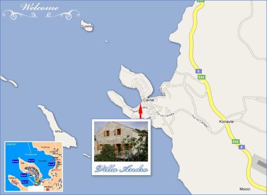 Location of the villa Andro