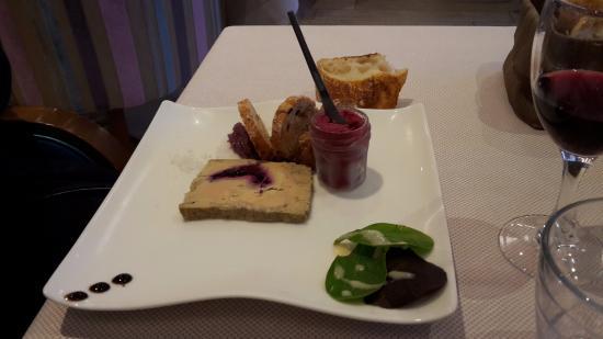 Foie gras ici le sorbet est dans le petit pot mais for Assiette foie gras decoration