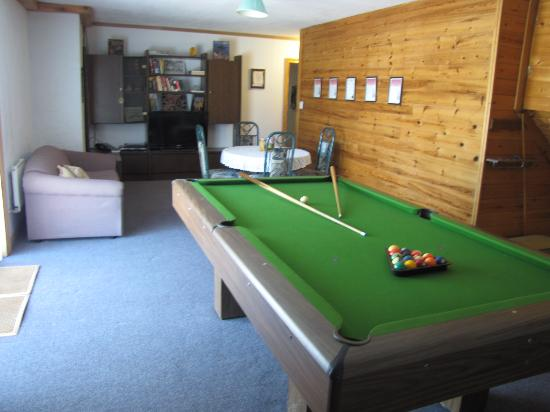 Quiet Bay Log Motel & Cafe: Living room with Billiard table