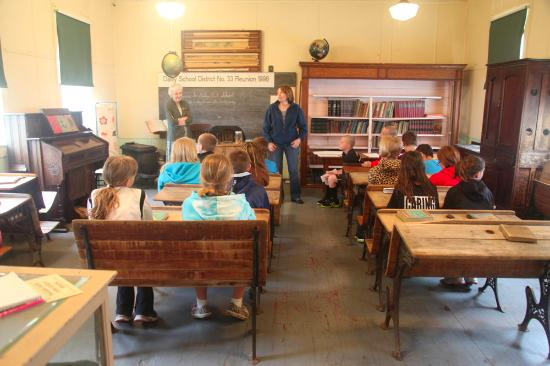 Caledonia, MN: Inside the one-room school house.