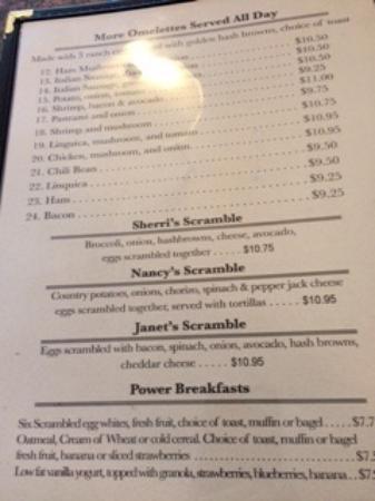 Vally Medlyn's: Description of Janet's Scramble on menu