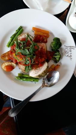 Grilled chicken with grilled veggies and hot tomato salsa
