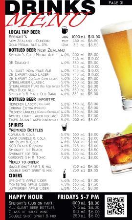 Kingston, New Zealand: Drinks Menu Beer - Spirits - Ciders