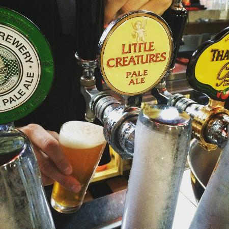 Mornington, Australia: Pouring on tap: Furphy Refreshing Ale, Coopers Pale, Little Creatures Pale & Thatchers Apple Cid