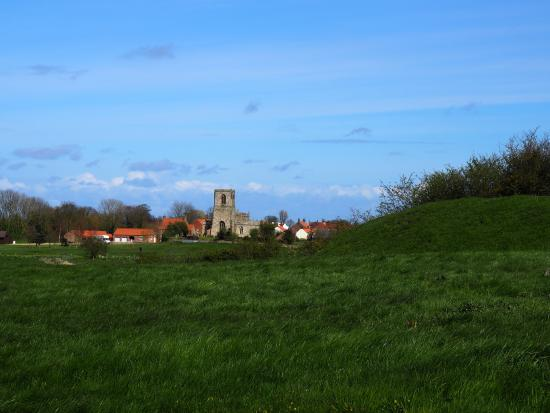 Skipsea church in the distance