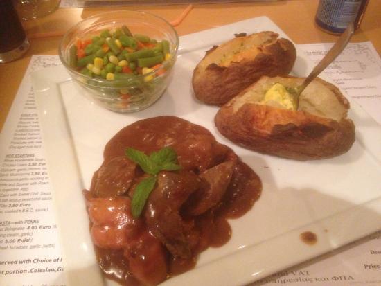 Jordan's : Liver, jacket potatoes, with garlic butter, and veg.
