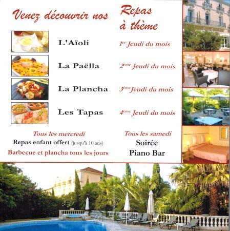 Nezignan l'Eveque, Γαλλία: Repas a thème à partir de début mai