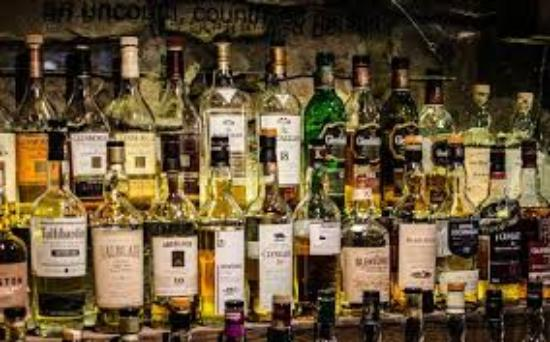a room in the west end and Teuchters bar: whisky