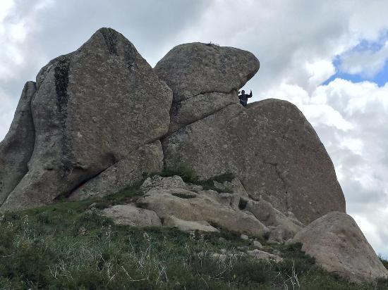 Montalbano Elicona, Italia: L'aquila di pietra. Notate le dimensioni (l'uomo in vetta è altro 1,80)