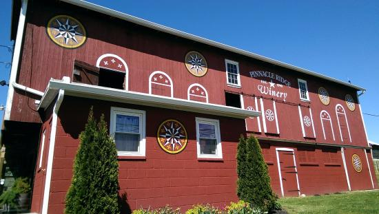 Kutztown, PA: The barn is above, the tasting room below and around the corner.