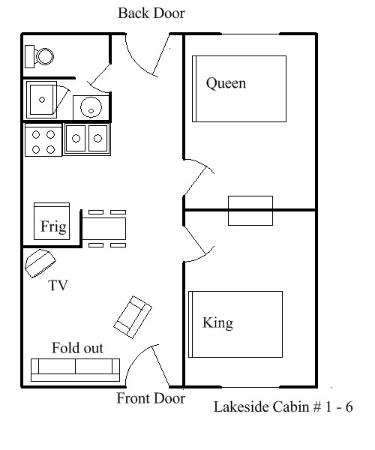 Green Valley Resort: Lakeside Cabins 1-6 Layout