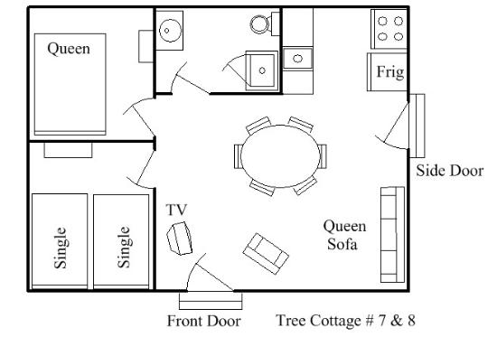 Green Valley Resort: Tree Cottage 7 & 8 Layout
