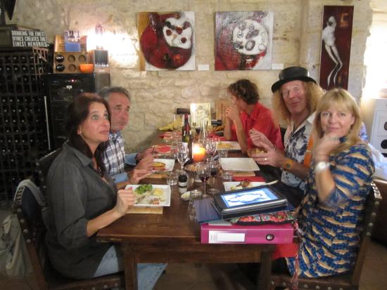 Tasting wine and food at La Galerie in Blaye.