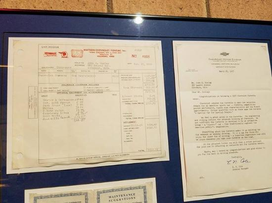 Bowling Green, KY: Invoice for a 1957 vette