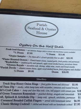 Trussville, Алабама: Menu, bread pudding, oyster sampler