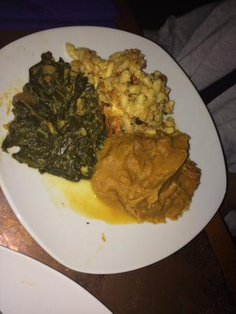 Seasoned Vegan: Sweet potatoes, Collard greens, and Mac and Cheese,