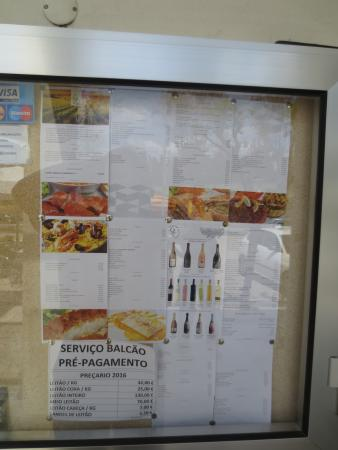 Anadia, Portugal: The menu (image from outside)