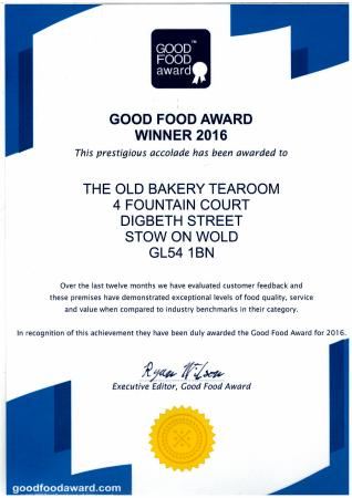 The Old Bakery Tearoom: Our latest award Spring 2016